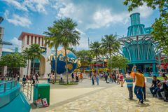 新加坡- 2018年2月01日:环球影业新加坡输入的未认出的人是被找出的主题乐园 库存照片