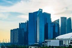 新加坡- 2017年11月19日:现代摩天大楼看法罪孽的 免版税图库摄影