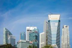新加坡- 2016年4月30日:高大厦在中心地区的街市核心的新加坡,新加坡 免版税库存图片