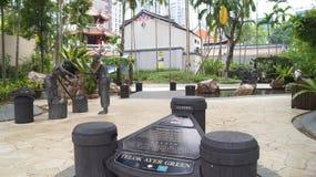 新加坡- 2015年4月2日:Telok Ayer全国公园的标志在Telok Ayer潜水艇区,新加坡唐人街  免版税库存图片