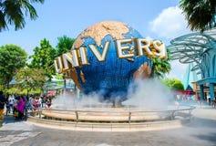 新加坡- 10月, 10月的28环球影业新加坡标志 库存图片