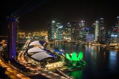 新加坡- 10月29日:小游艇船坞海湾的顶视图 免版税图库摄影