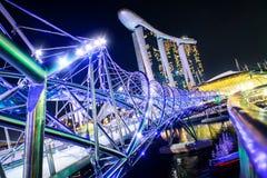新加坡-10月28日:小游艇船坞海湾铺沙度假旅馆和他 免版税库存照片