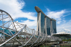 新加坡-2015年7月16日:小游艇船坞海湾铺沙度假旅馆 我 免版税库存照片