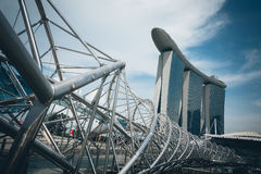 新加坡-2015年7月16日:小游艇船坞海湾铺沙度假旅馆 我 库存图片