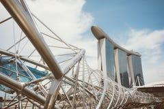 新加坡-2015年7月16日:小游艇船坞海湾铺沙度假旅馆 我 免版税图库摄影