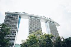 新加坡-2015年7月17日:小游艇船坞海湾铺沙度假旅馆 我 库存照片