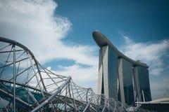 新加坡-2015年7月16日:小游艇船坞海湾铺沙度假旅馆 我 库存照片