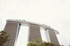 新加坡-2015年7月17日:小游艇船坞海湾铺沙度假旅馆 我 库存图片