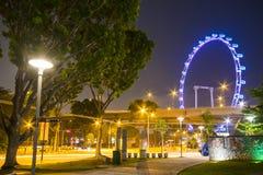 新加坡- 2015年10月12日:新加坡飞行物看法在晚上, 免版税库存图片