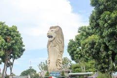 新加坡- 2013年8月09日:Merlion -神话人物机智 免版税图库摄影