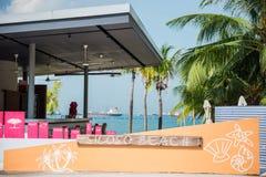 新加坡- 2014年10月18日:Siloso海滩是最熟悉内情的新加坡的是 库存照片