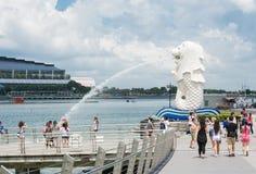 新加坡7月15日2015年:Merlion喷泉在新加坡 Merli 库存图片