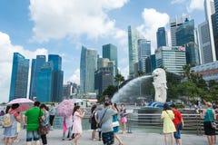 新加坡7月15日2015年:Merlion喷泉在新加坡 Merli 图库摄影