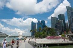 新加坡7月15日2015年:Merlion喷泉在新加坡 Merli 免版税图库摄影