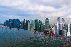 新加坡- 4月15 :在屋顶和新加坡市地平线的水池 库存图片