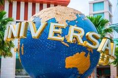 新加坡- 9月06 :环球影业新加坡标志 库存图片