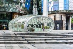 新加坡- 6月18 :离子果树园商城onJU天视图  免版税库存图片