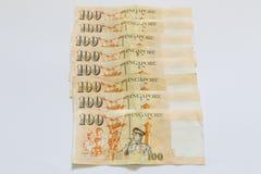 新加坡100美元钞票 免版税库存照片