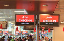 亚洲航空登记处柜台 免版税库存照片