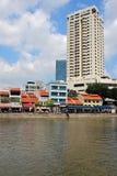 新加坡` s历史的江边 库存图片