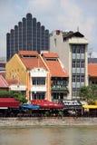 新加坡` s历史的江边 免版税库存图片