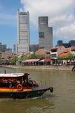 新加坡` s历史的江边 免版税库存照片