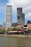 新加坡` s历史的江边 图库摄影