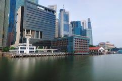 新加坡CBD在全景 免版税库存图片