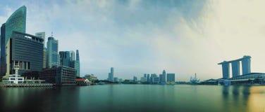 新加坡CBD在全景 库存图片