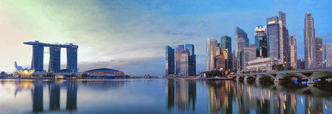 新加坡CBD在全景 图库摄影
