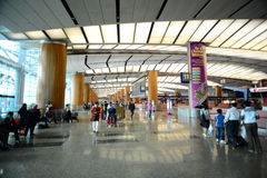新加坡Changi机场走道  免版税库存图片