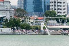新加坡merlion公园河视图 免版税库存照片
