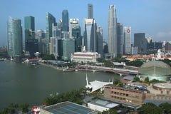 新加坡SG50周年纪念生日财政区早晨场面 免版税库存照片