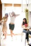 新厨房的妇女 库存照片
