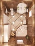 新古典主义的卫生间的顶视图 3d例证 库存照片