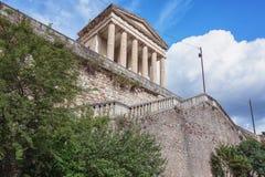 新古典主义的法院大楼在Largentiere 库存照片