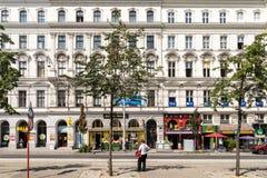 新古典主义的葡萄酒建筑学在街市维也纳 库存照片