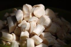 新味道好的切片菜食物裁减成切片特写镜头在水中在黑暗的背景 免版税库存照片