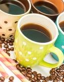 新咖啡饮料显示咖啡浓咖啡和脱咖啡因咖啡 库存图片