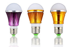 新型LED电灯泡或节能电灯泡 免版税库存照片