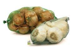 新大蒜绿色捕网塑料青葱 图库摄影