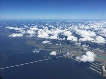新奥尔良密西西比河盆地鸟瞰图  免版税库存图片