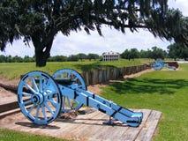 新奥尔良战场争斗有大炮和种植园家的 图库摄影