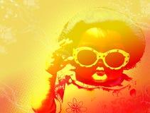 新女孩的太阳镜 免版税库存照片