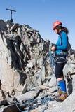 新女性登山人 免版税图库摄影