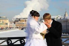 新娘亲吻户外冬天的新郎现有量 免版税库存照片