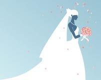 新娘剪影 库存照片