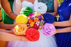 新娘和女傧相花束 免版税图库摄影