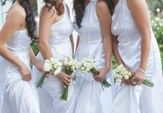 新娘和女傧相 库存照片